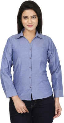Sunday Casual Women's Solid Formal Blue Shirt