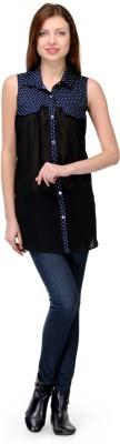 Shwetna Women,s Solid Casual Blue Shirt