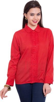 Tuntuk Women's Printed Casual Red Shirt