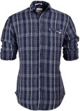 So Design Men's Checkered Casual Blue Sh...
