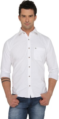 Donear NXG Men's Solid Casual White Shirt