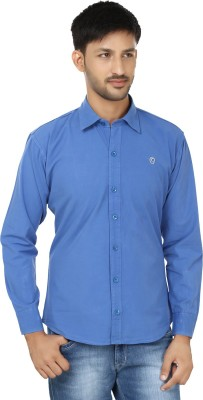Hi Man Men's Solid Casual Blue Shirt