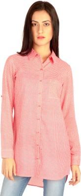 MIST ISLAND Women's Checkered Casual Pink Shirt