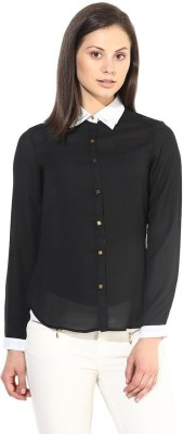 The Vanca Women's Solid Formal Black Shirt
