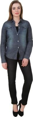 Petipack Women's Solid Casual Denim Blue Shirt