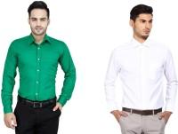 Jiyana Formal Shirts (Men's) - Jiyana Men's Solid Formal Green, White Shirt(Pack of 2)