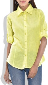 Queenyouapparel Girls Solid Formal Yellow Shirt