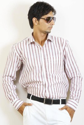 SIERA Men's Striped Formal Brown, White Shirt