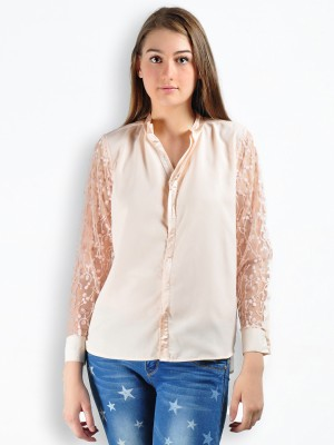 MySin Women's Self Design Party Pink Shirt