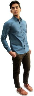 Privee Paris Men,s Solid Casual, Party, Formal Blue Shirt