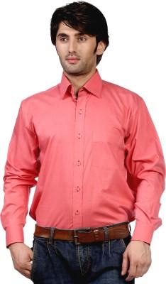 Hugo Chavez Men's Solid Formal Pink Shirt