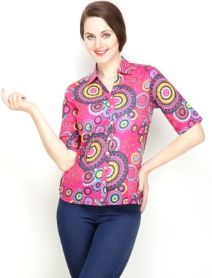 Tops and Tunics Women's Paisley Casual Pink Shirt