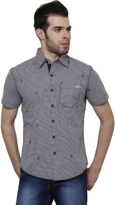 True Tittos Men's Checkered Casual Dark Blue, White, Red Shirt
