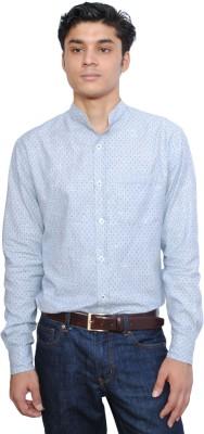 Vaak Men's Self Design Casual Blue Shirt