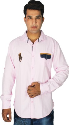 China Collection Men's Self Design Casual Pink Shirt