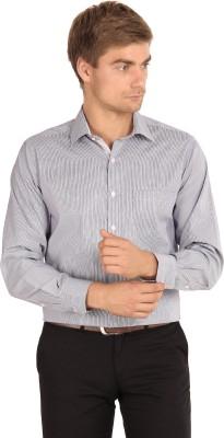I-Voc Men's Striped Formal Blue, White Shirt