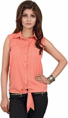 LA ATTIRE Women's Solid Casual Pink Shirt