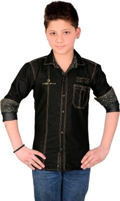 Aedi Boy's Solid Casual Denim Black Shirt
