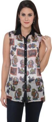 Goddess Women Women's Animal Print Casual Black Shirt