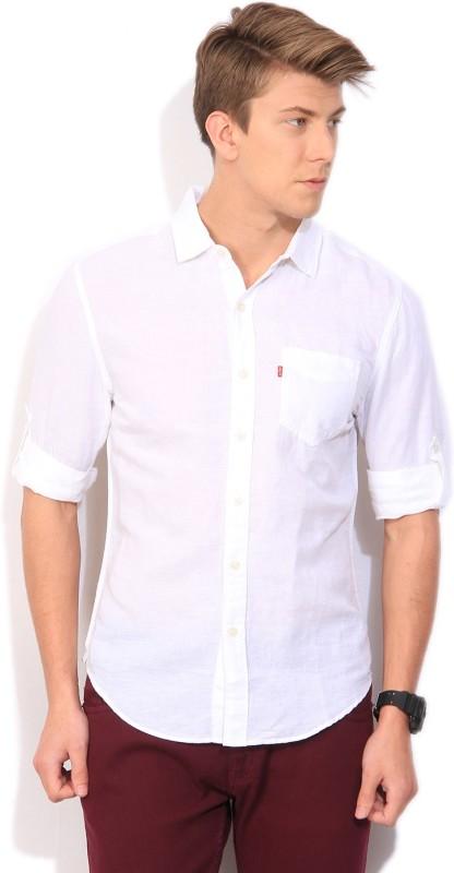 Levi's Men's Solid Casual Linen White Shirt
