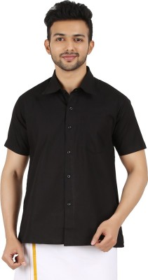 MEENAVISION Men's Solid Formal Black Shirt