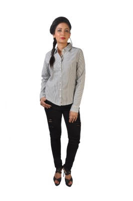 No Code Women's Striped Casual Grey Shirt
