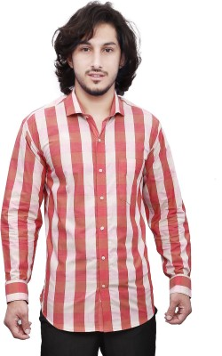 Dave Men's Checkered Casual Red, Pink Shirt