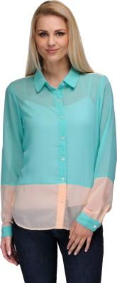 Curvy Q Women's Solid Casual Blue Shirt
