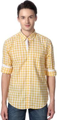 Peter England Men's Checkered Casual Yellow Shirt