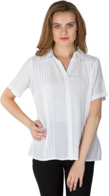 Instinct Women's Solid Casual White Shirt