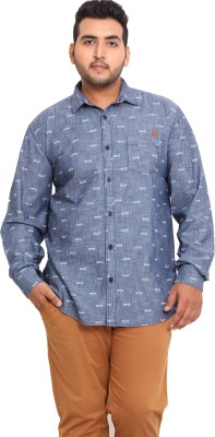 John Pride Men's Printed Casual Blue Shirt