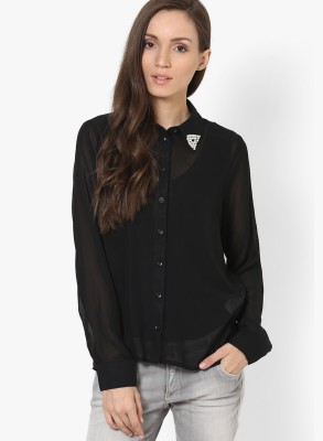 Only Womens Embellished Casual Black Shirt