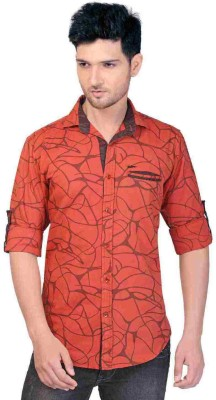 GoPlay Men's Printed Casual Orange Shirt
