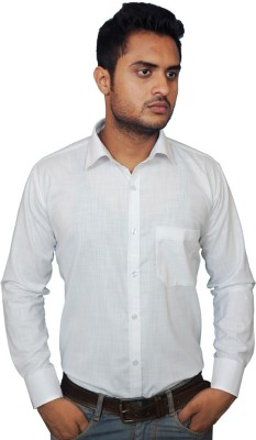 Smoky Men's Solid Formal White Shirt