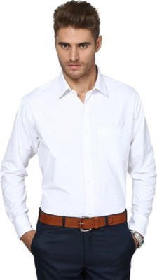 Limrha Men's Solid Formal White Shirt