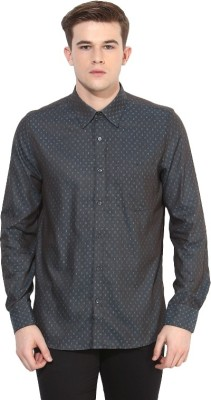 London Bridge Men's Solid Formal Blue Shirt