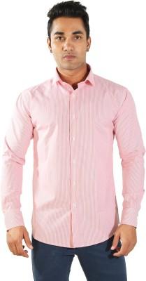 Just Differ Men's Striped Formal Pink Shirt