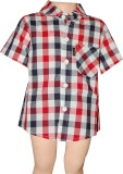 Habooz Boys Checkered Casual Black, Red ...