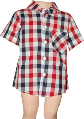 Habooz Boy's Checkered Casual Black, Red Shirt