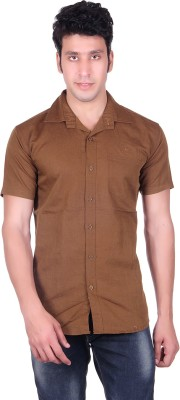PICKLE Men's Solid Formal Brown Shirt
