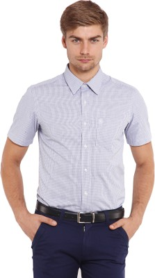 Classic Polo Men's Houndstooth Casual White, Blue Shirt