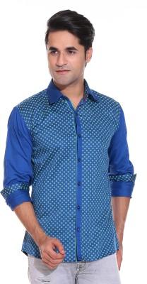 Rebel Men's Printed Casual Blue Shirt