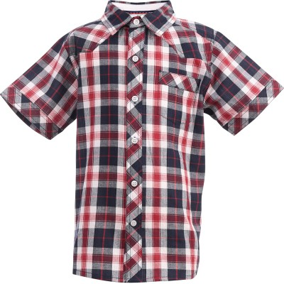 ShopperTree Boy's Checkered Casual Red Shirt