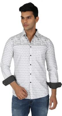 Easies Men's Printed Casual White Shirt