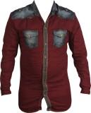 Zedx Men's Solid Casual Maroon Shirt