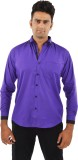 The Mods Men's Solid Casual Purple Shirt