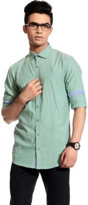 Cotton Crus Men,s Solid Casual Green Shirt
