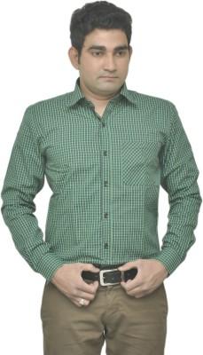 Benzoni Men's Checkered Casual Green, Dark Blue Shirt