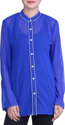 Indicot Women's Solid Casual Purple Shirt