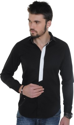 See Designs Men,s Solid Casual Black Shirt